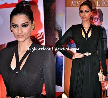 When in doubt, black is your answer. It is slimming, sophisticated, and more importantly, matches everything. Sonam is generally seen accessorizing her black outfits with chunky gold necklaces or colored clutches.