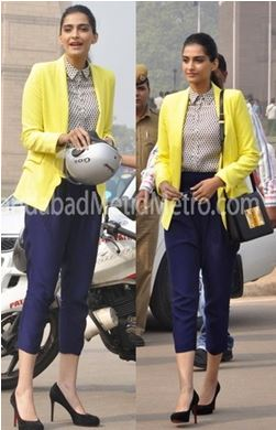 Colored blazers go a long way. They can complete an outfit, especially when worn right. Hot pink, yellow, electric blue, and even black are hot favorites for Sonam.