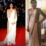 Sonam Kapoor pairs her Annamika Khanna sari with an embroidered jacket. She pulls the the whole outfit together with her mother&#039;s nathni.
