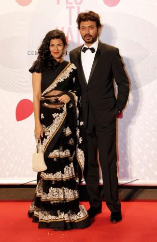 Irrfan Khan and Nimrit Kaur, seen in a black Sabyasachi lehenga sari at the Bombay Talkies Gala Source: Indian Express