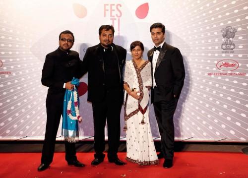 Directors Dibakar Banerjee, Anurag Kashyap, Zoya Akhtar and Karan Johar at the screening of Bombay Talkies Source: Indian Express