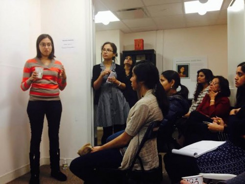 Speakers take turns to explain what Sakhi does for domestic violence survivors. (Photo by Vaidehi Mujumdar)