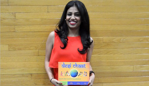 Priya Shah holds a copy of Desi Chaat, a board game based on Taboo. Shah, a Rutgers alumna, created the game to teach and incorporate South Asian culture into a different format. (Photo Illustration by Yesha Chokshi. Photo Source:  http://ow.ly/uyLlb)