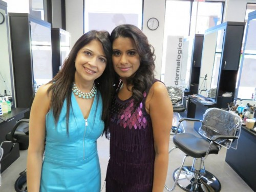 "Ekata Doshi and Nisha Mathur before the airing of the first episode of ""Shades of Shakti"" on TV Asia. (Photo provided by Nisha Mathur)."