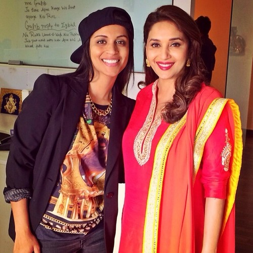 """That moment when you show @madhuridixit your YouTube video and she genuinely laughs and thinks it's funny. Or is just acting to be polite. Either way, I'm sitting there like dhak dhak karne laga! Ah! Ah! #superwoman #madhuridixit #childhooddream"" (Photo Source: http://iisuperwomanii.tumblr.com)"