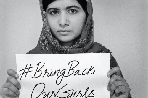 Malala Yousafzai lends her support to the campaign to rescue the girls. (Photo Source: http://www.thetimes.co.uk/tto/news/world/africa/article4083772.ece).
