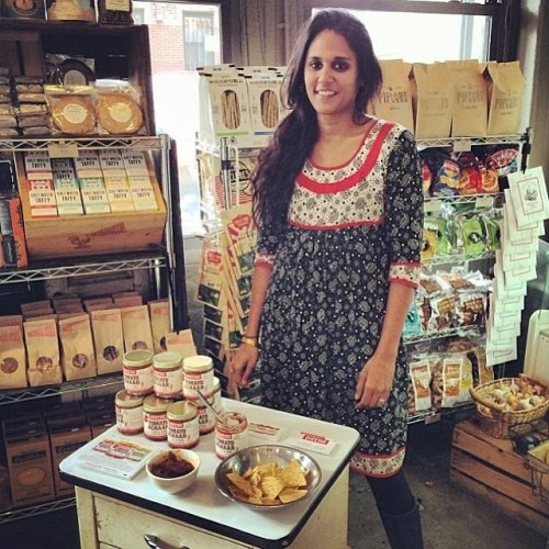 Chitra Agrawal selling her homemade line of achaar, Brookyln Delhi.