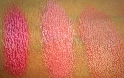 Swatches of blushes side by side (from left to right): Luminous Flush, Incandescent Electra, and Mood Exposure.