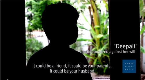 """Screenshot from """"Women Institutionalized Against their Will in India,"""" by the Human Rights Watch group"""