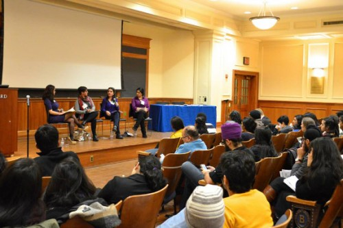 [Panelists discuss transnational feminism within the South Asian context at Barnard College.| Photo by Sania Khalid]