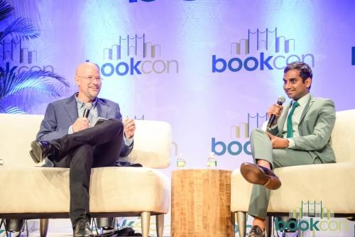 "[Aziz Ansari in coversation with The New York Times's ""Modern Love"" column editor, Daniel Jones, about his new book. | Photo Source: Facebook.com/BookCon]"
