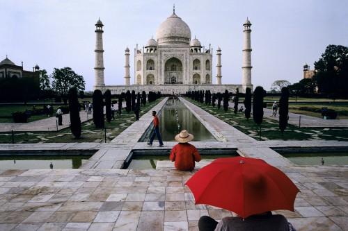 Red Umbrella Taj Mahal, Agra, India, 2000.