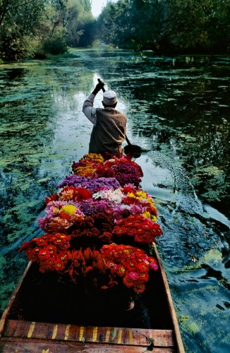 "Flower Seller, Dal Lake, Srinagar, Kashmir, 1996 National Geographic, September 1999, Kashmir: Trapped in Conflict ""Each morning for two weeks during his 1996 visit to Lake Dal in Kashmir, McCurry travelled with the flower sellers. He had established a ritual for the morning hours, when the sun was at its best. Shortly after dawn, he would begin the day in the market; then he would ride with the boatmen. He knew these were the places for strong pictures. He also knew he needed to work for his pictures, to look and to wait for the right light and action to come together. And then, that morning, from a boat filled with flowers, he caught the boatman's hand in the reflected light of the V of the trees on Lake Dal."" - Phaidon 55 Magnum Photos, NYC5901, MCS1999005 K017 Phaidon, 55, South Southeast, Iconic Images, final book_iconic, milan frame, final print_poster, iconic photographs A flower seller paddles through Dal Lake's quiet waters. Few observers expect diplomacy to restore equal serenity to his homeland. Buffeted from within and without by waves of seemingly intractable strife, Kashmir faces a stormy future. Good pictures take time and work. When visiting Lake Dal in 1996, McCurry travelled with the local flower sellers as they journeyed down the river. For two weeks he would ride with the merchants during the morning. On this day the vibrant flowers and boatman, arm raised in mid-paddle, combine with the morning light to create the perfect composition."