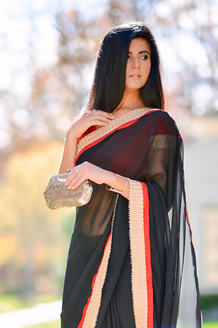Black and Red Saree-004