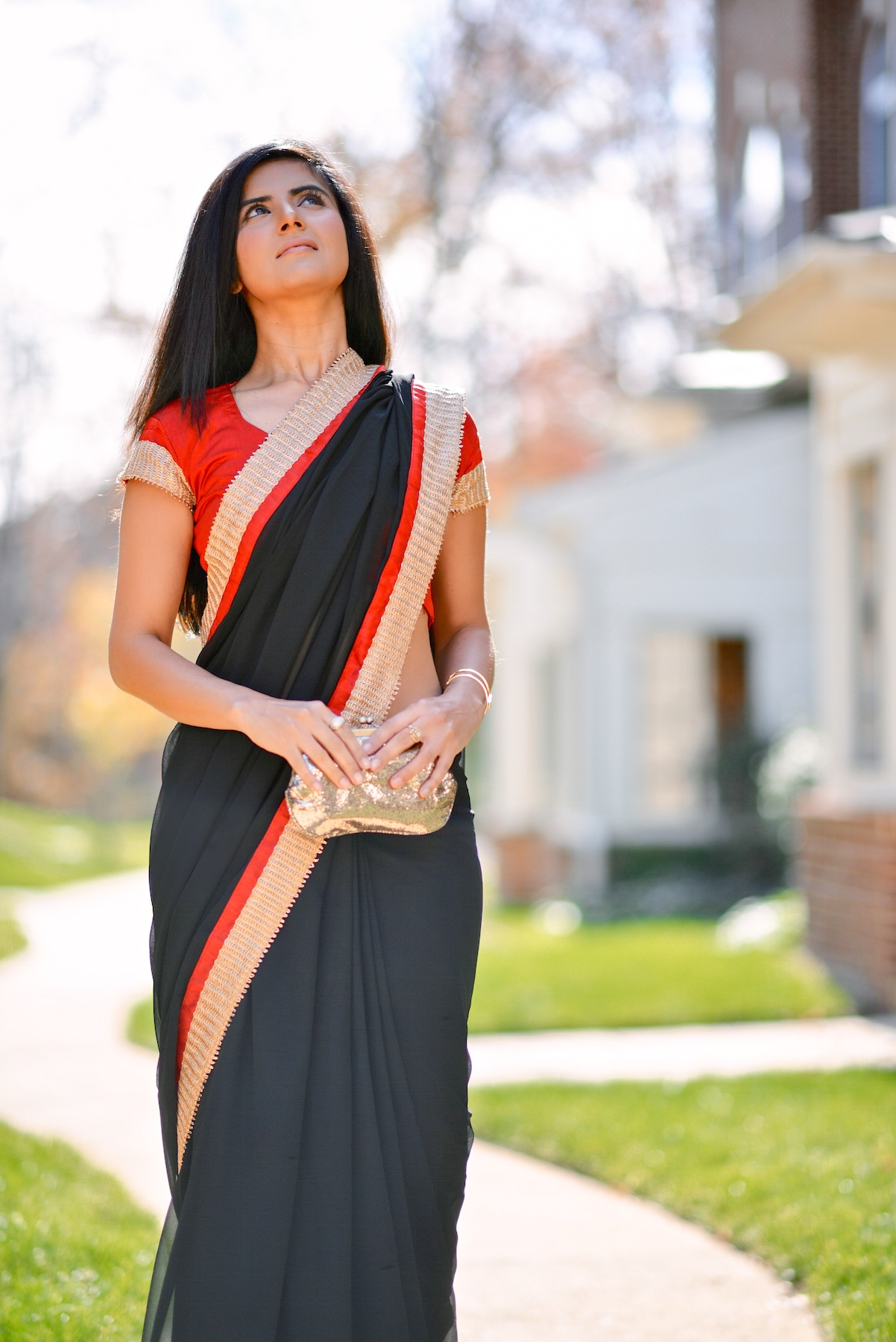 Black and Red Saree-006