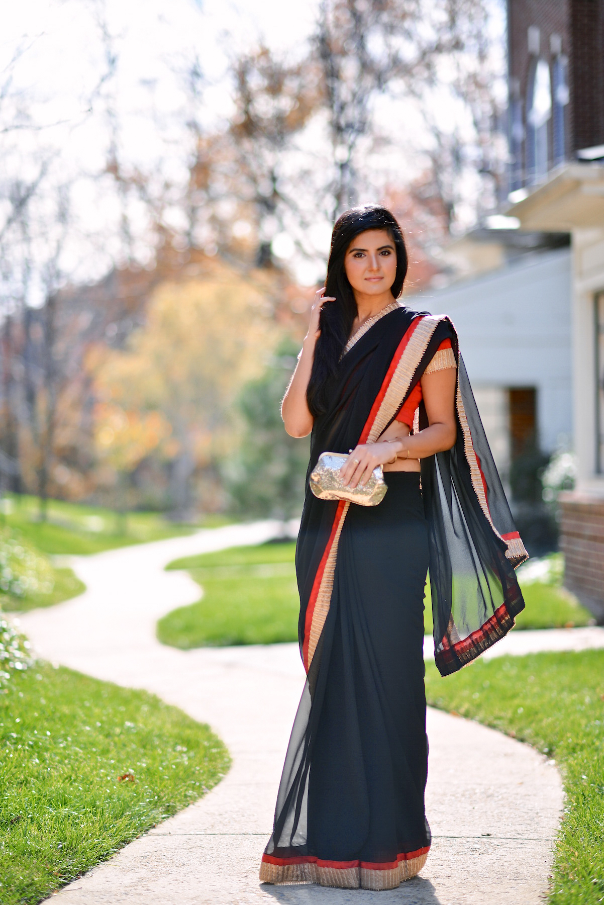 Black and Red Saree-008