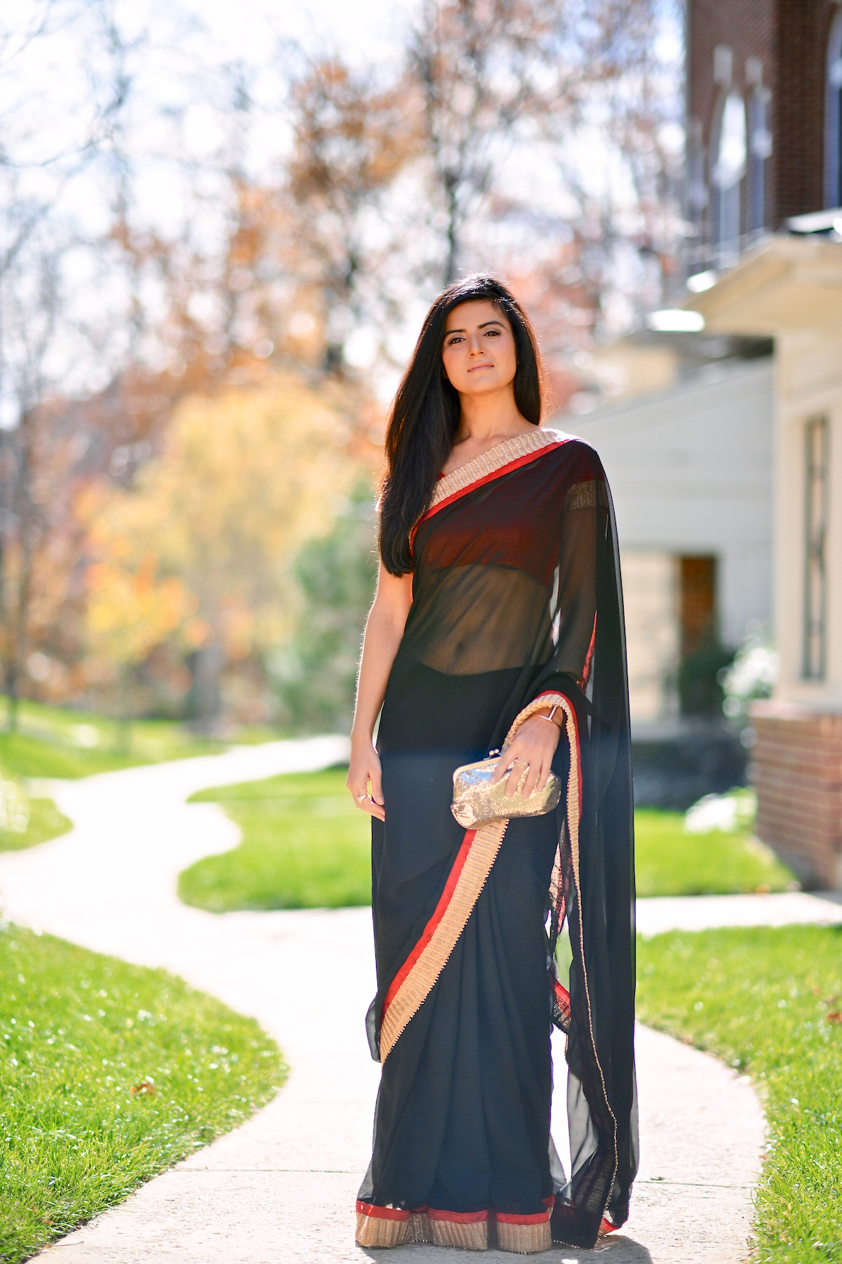 Black and Red Saree-009