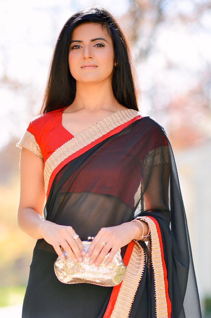Black and Red Saree-011