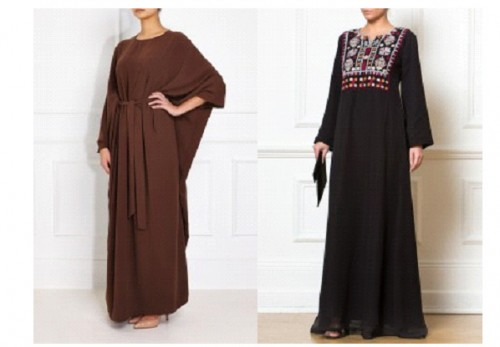 LEFT: Brown Batwing Abaya RIGHT: Afghan Embroidered Black Dress