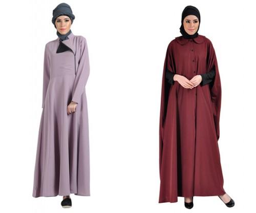 LEFT: Seafog Zipper Front Abaya RIGHT: Cape Jilbab Dress