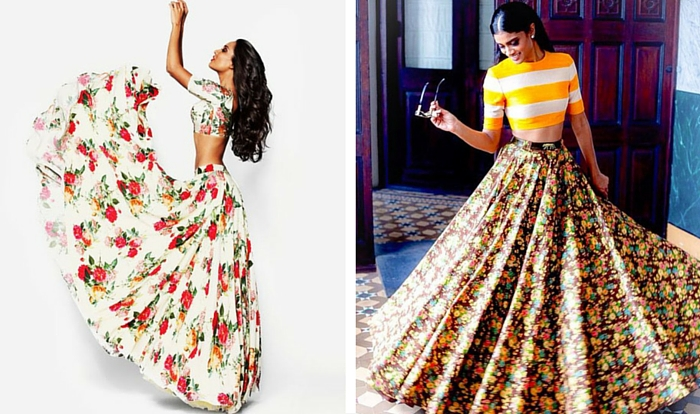 [(left) Sunaina Puri's floral lehenga with floral bodice from her winter 2014-2015 Armaan Collection | Photo Source: Pinterest, (right) Sabyasachi Mukherjee's floral lehenga with striped bodice | Photo Source: Pinterest]
