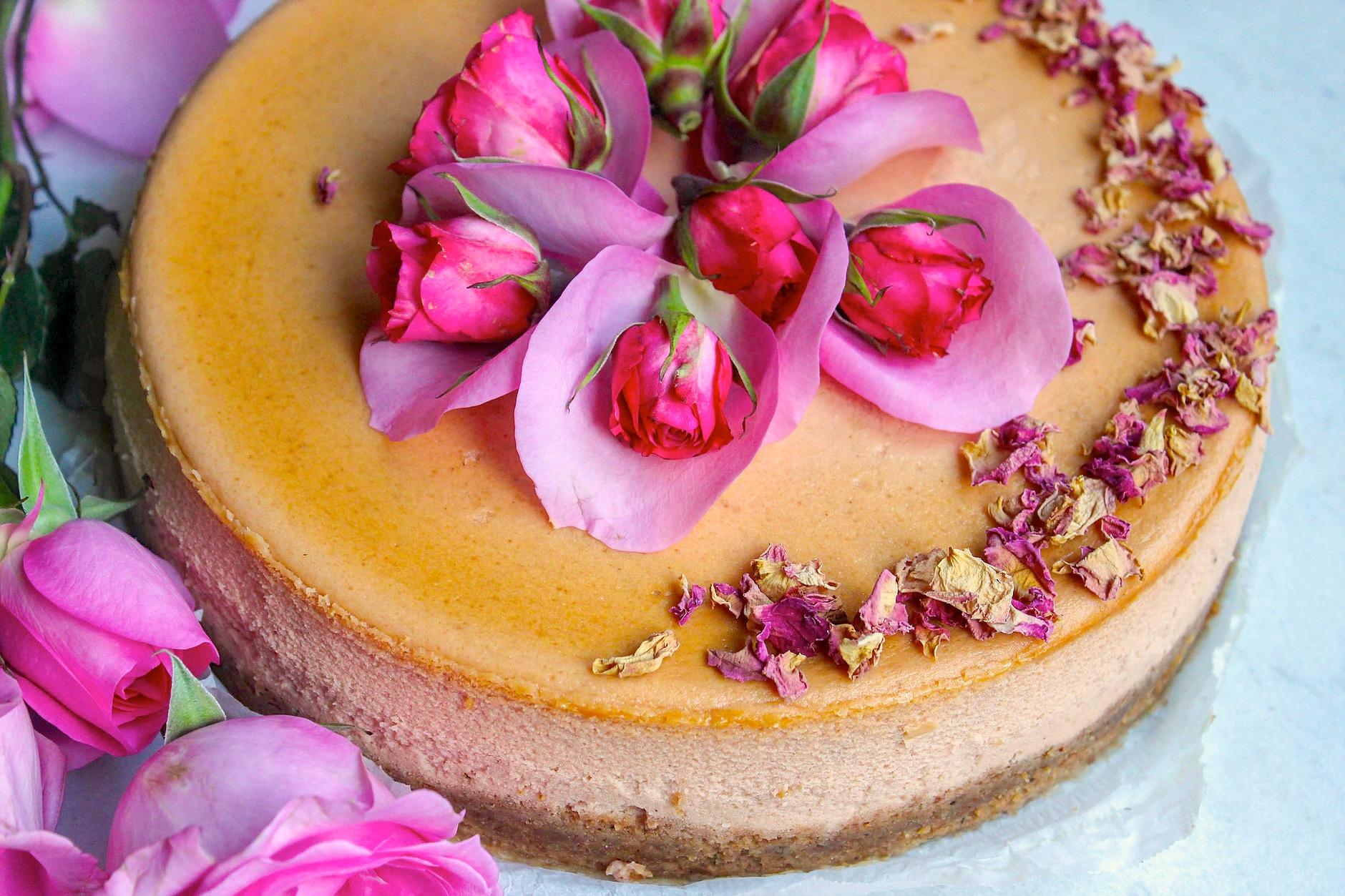 A Valentine's Day Treat: Rose Chai Cheesecake