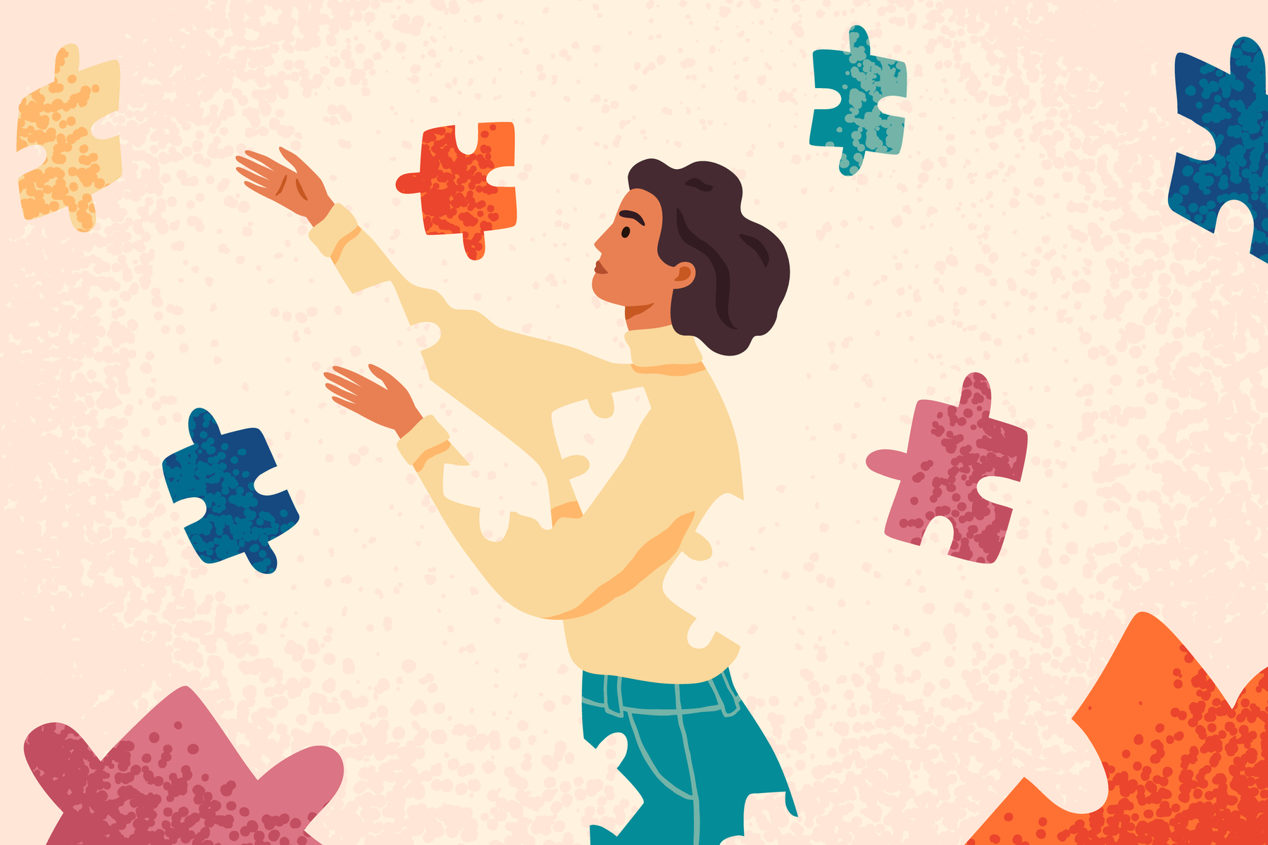 woman of color reaching into space surrounded by puzzle pieces