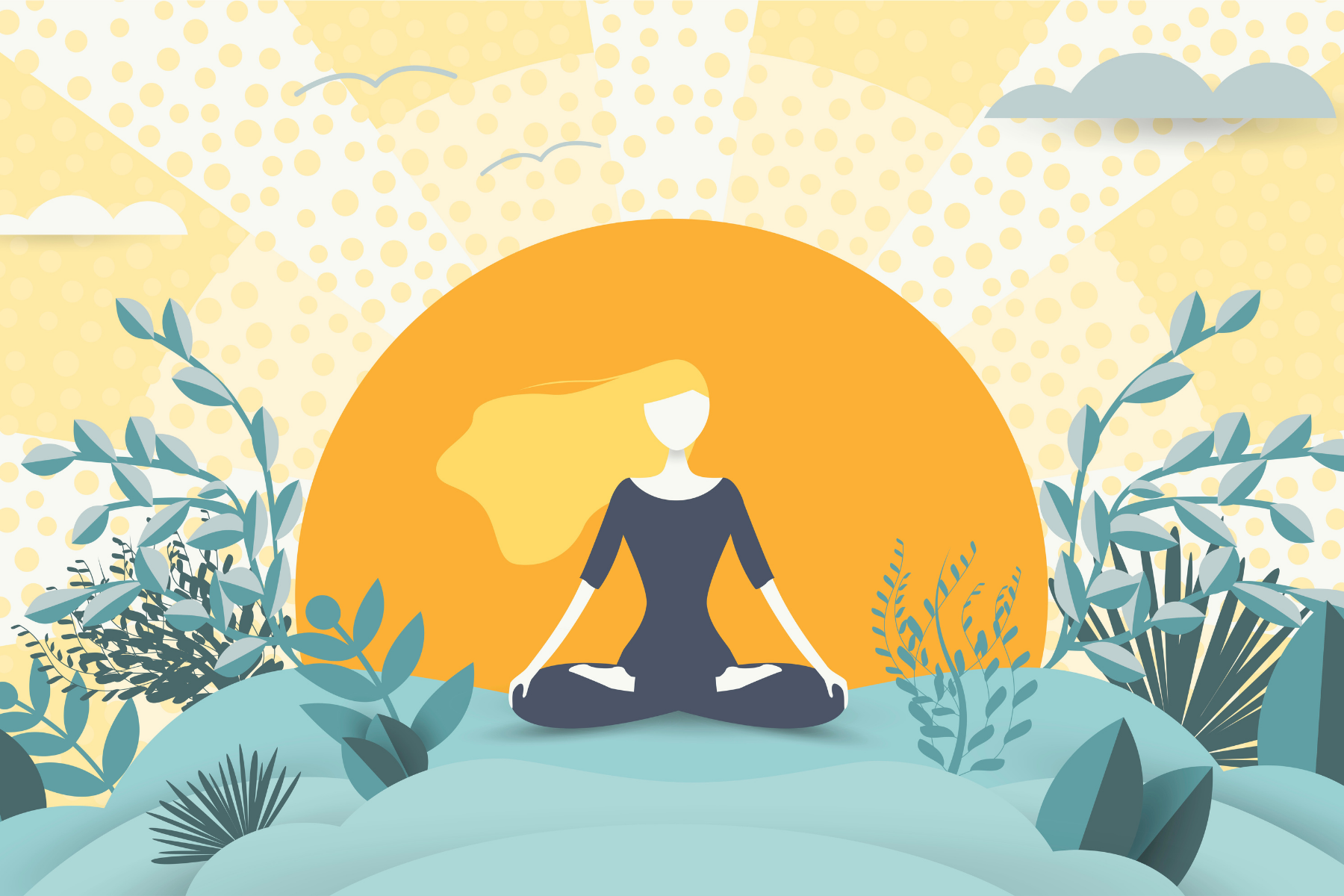 woman meditating in a setting sun in nature